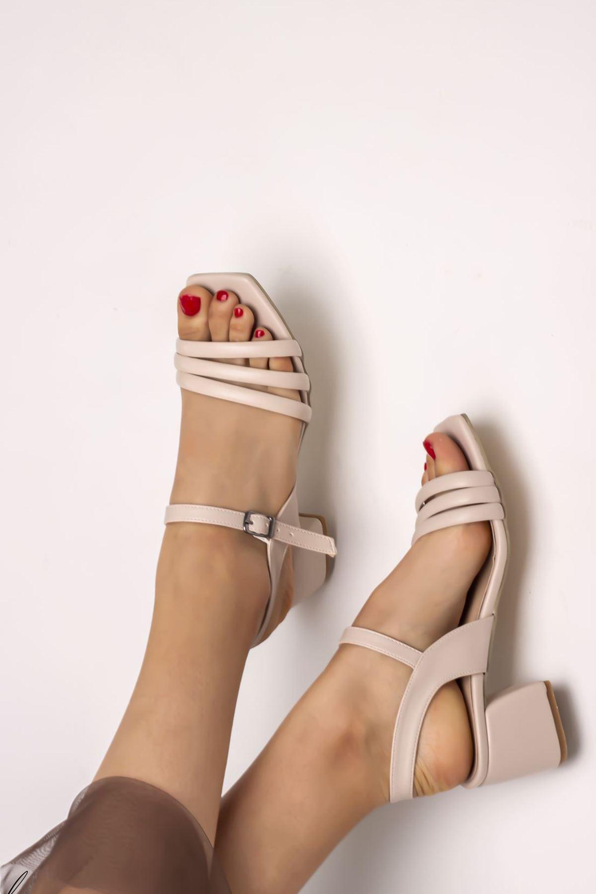 Kadın Biyeli Klasik Topuklu Ayakkabı-Krem