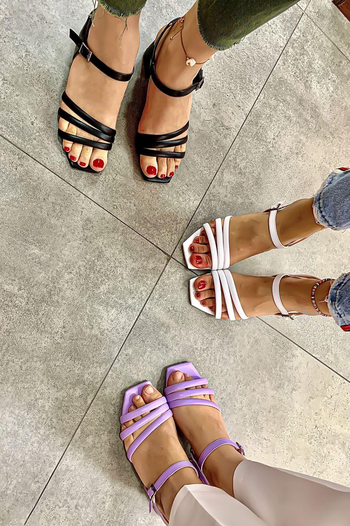 Kadın Biyeli Klasik Topuklu Ayakkabı-Lila