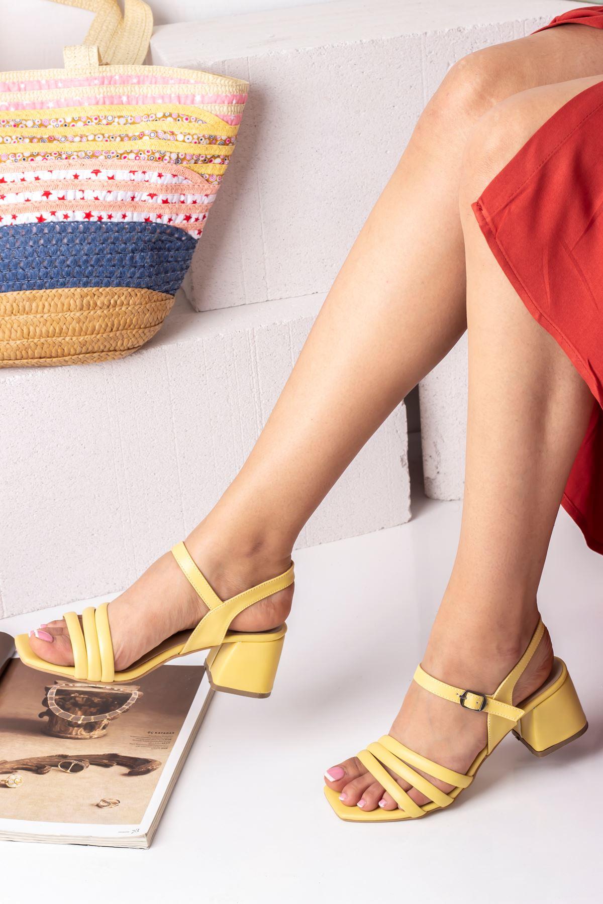 Kadın Biyeli Klasik Topuklu Ayakkabı-Sarı
