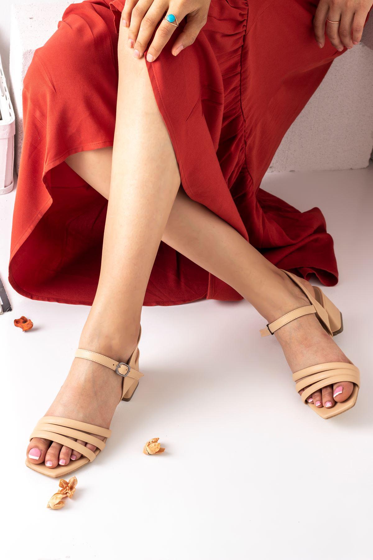 Kadın Biyeli Klasik Topuklu Ayakkabı-Nude
